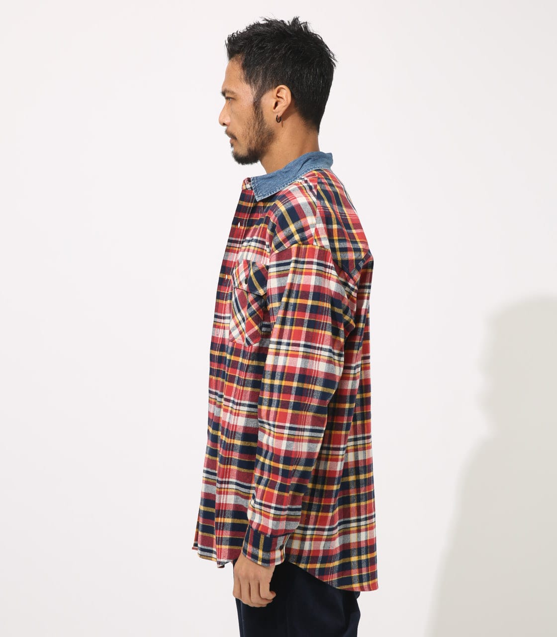 【AZUL BY MOUSSY】DENIM COLLAR BIG CHECK SHIRT 詳細画像 柄RED 6