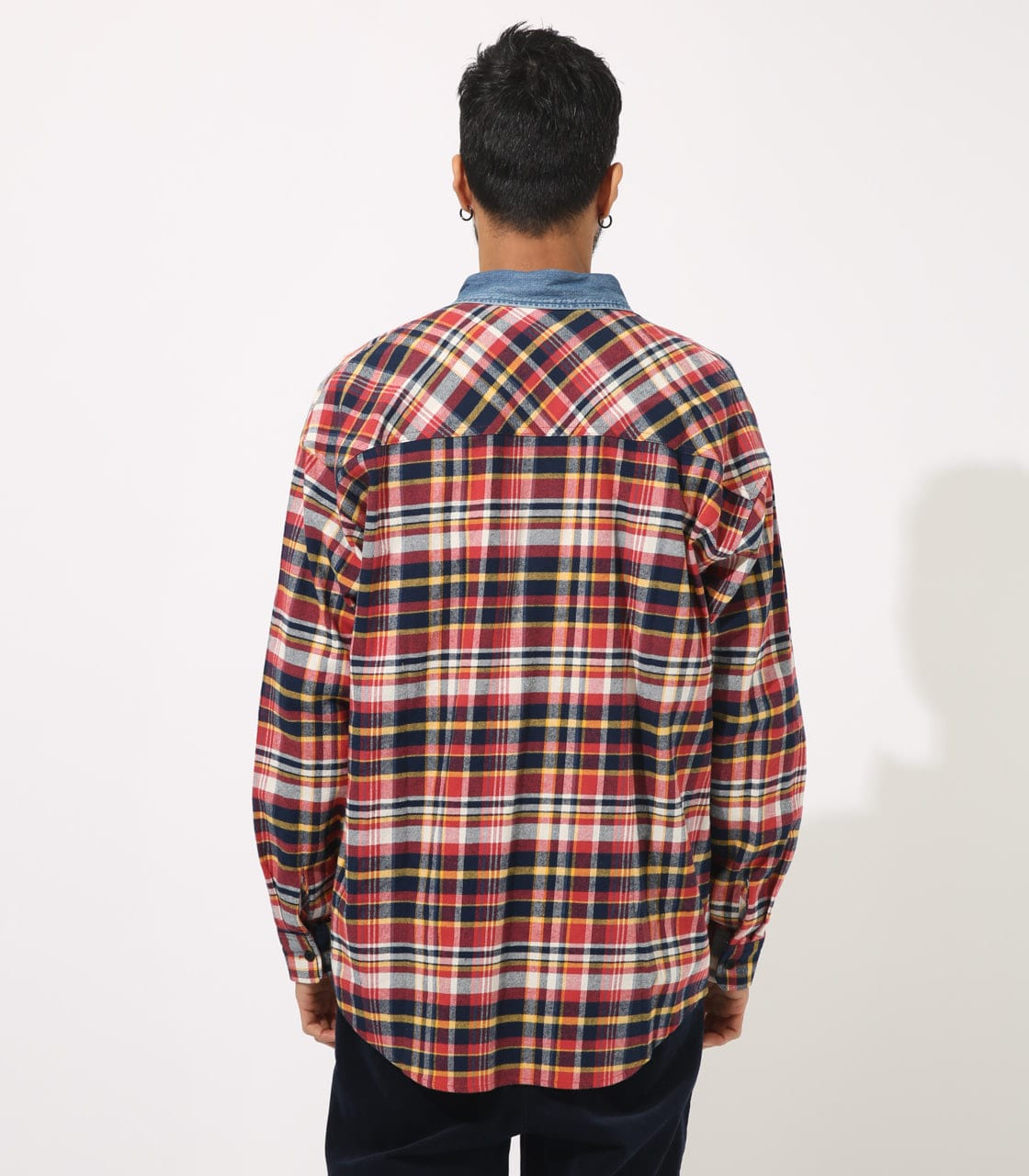【AZUL BY MOUSSY】DENIM COLLAR BIG CHECK SHIRT 詳細画像 柄RED 7