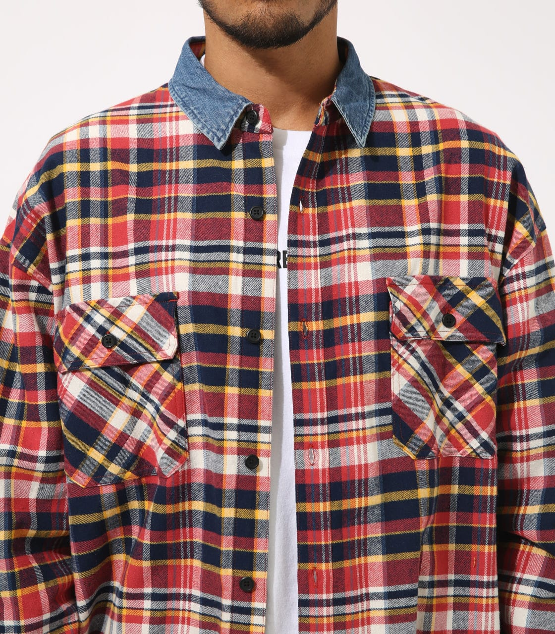 【AZUL BY MOUSSY】DENIM COLLAR BIG CHECK SHIRT 詳細画像 柄RED 8