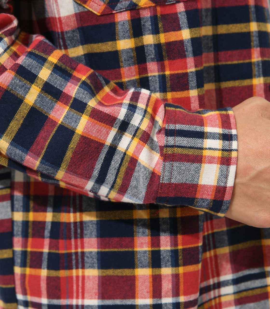 【AZUL BY MOUSSY】DENIM COLLAR BIG CHECK SHIRT 詳細画像 柄RED 9