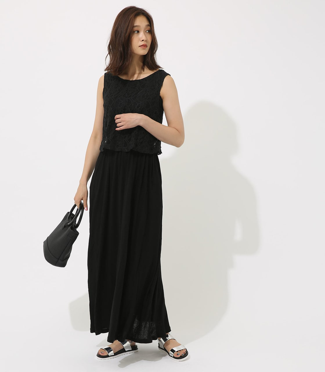 【AZUL BY MOUSSY】レースドッキングワンピース 詳細画像 BLK 1