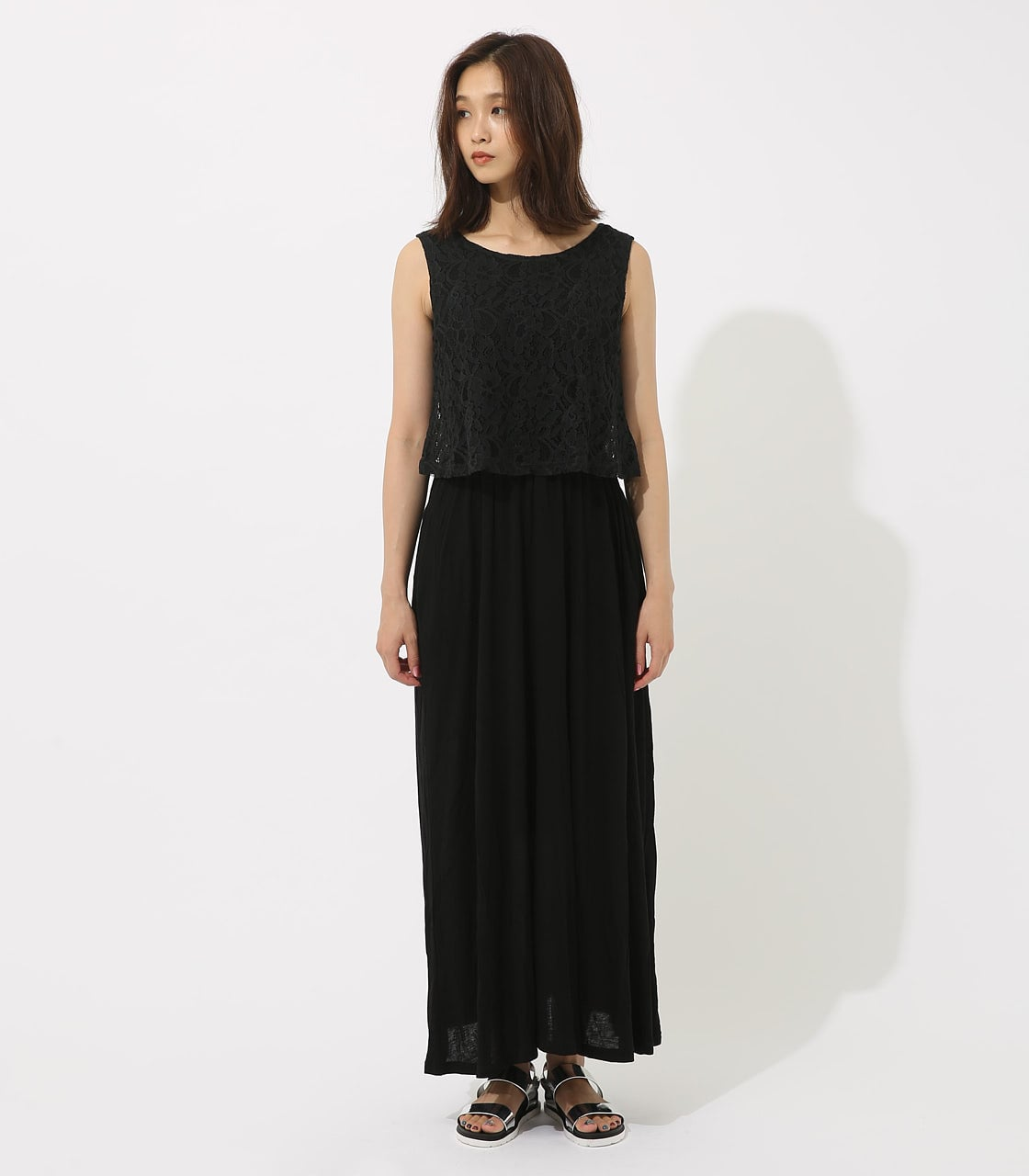 【AZUL BY MOUSSY】レースドッキングワンピース 詳細画像 BLK 5