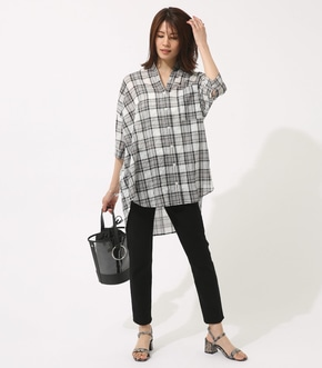 【AZUL BY MOUSSY】チェックドロップオーバーシャツ【MOOK46掲載 94048】 詳細画像