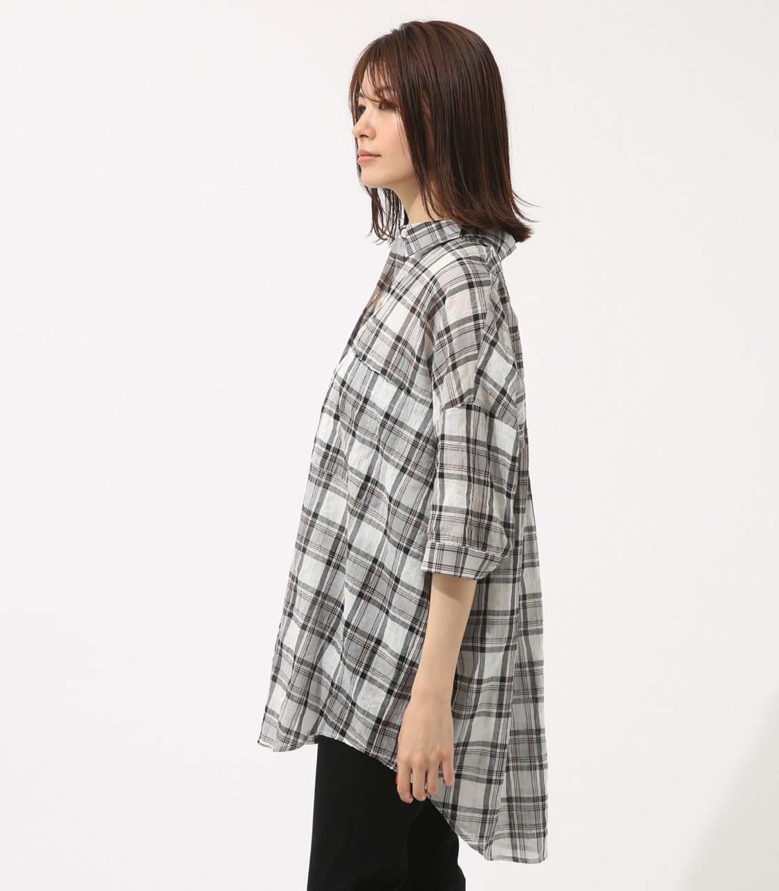 【AZUL BY MOUSSY】チェックドロップオーバーシャツ【MOOK46掲載 94048】 詳細画像 柄WHT 6