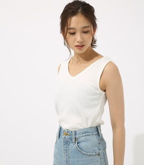 【AZUL BY MOUSSY】両Vカットリブタンク