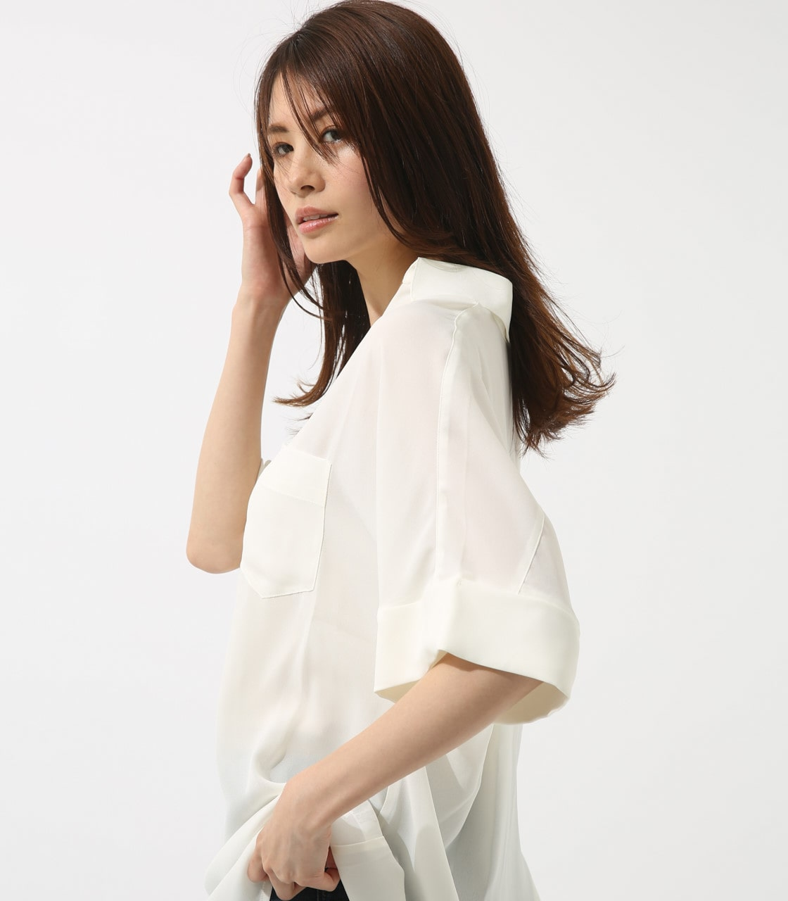 【AZUL BY MOUSSY】ルーズスキッパーシャツ 詳細画像 O/WHT 3