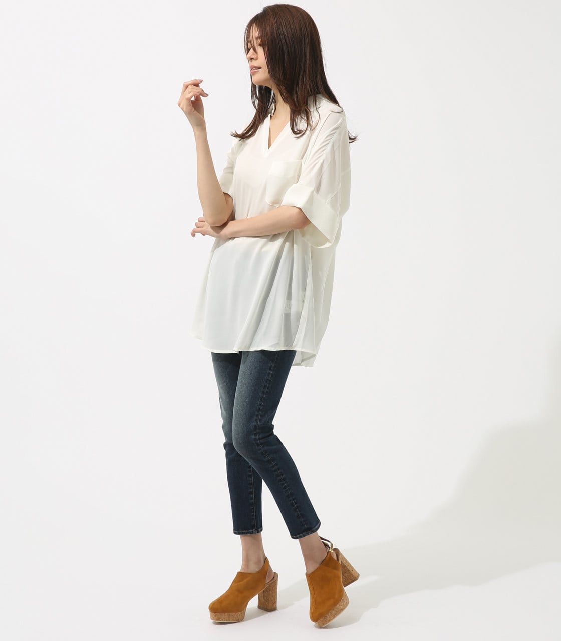 【AZUL BY MOUSSY】ルーズスキッパーシャツ 詳細画像 O/WHT 4
