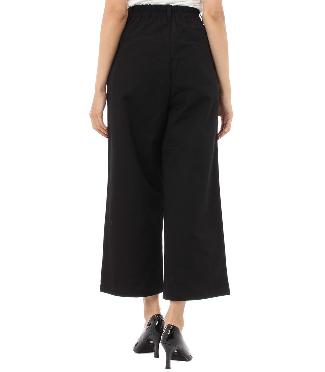 【AZUL BY MOUSSY】綿ツイルタックワイドパンツ 詳細画像 BLK 2