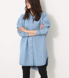 【AZUL BY MOUSSY】バックタック長袖ロングシャツ