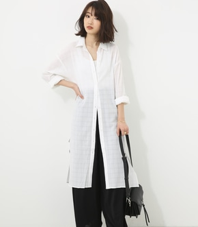 【AZUL BY MOUSSY】ドビー スリットロングシャツ