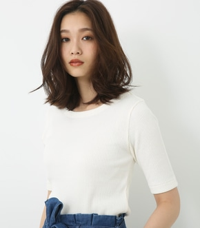 【AZUL BY MOUSSY】ナローリブ5分袖T