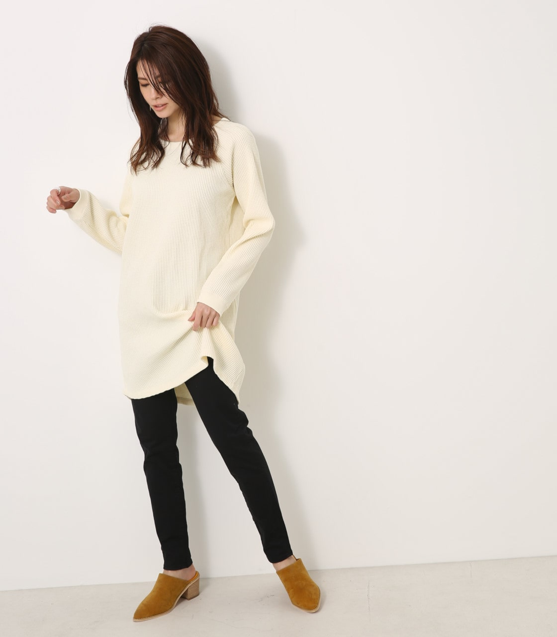 【AZUL BY MOUSSY】ヘビーワッフルルーズサーマルワンピース 詳細画像 O/WHT 4