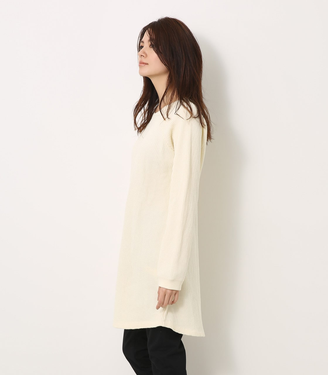 【AZUL BY MOUSSY】ヘビーワッフルルーズサーマルワンピース 詳細画像 O/WHT 6