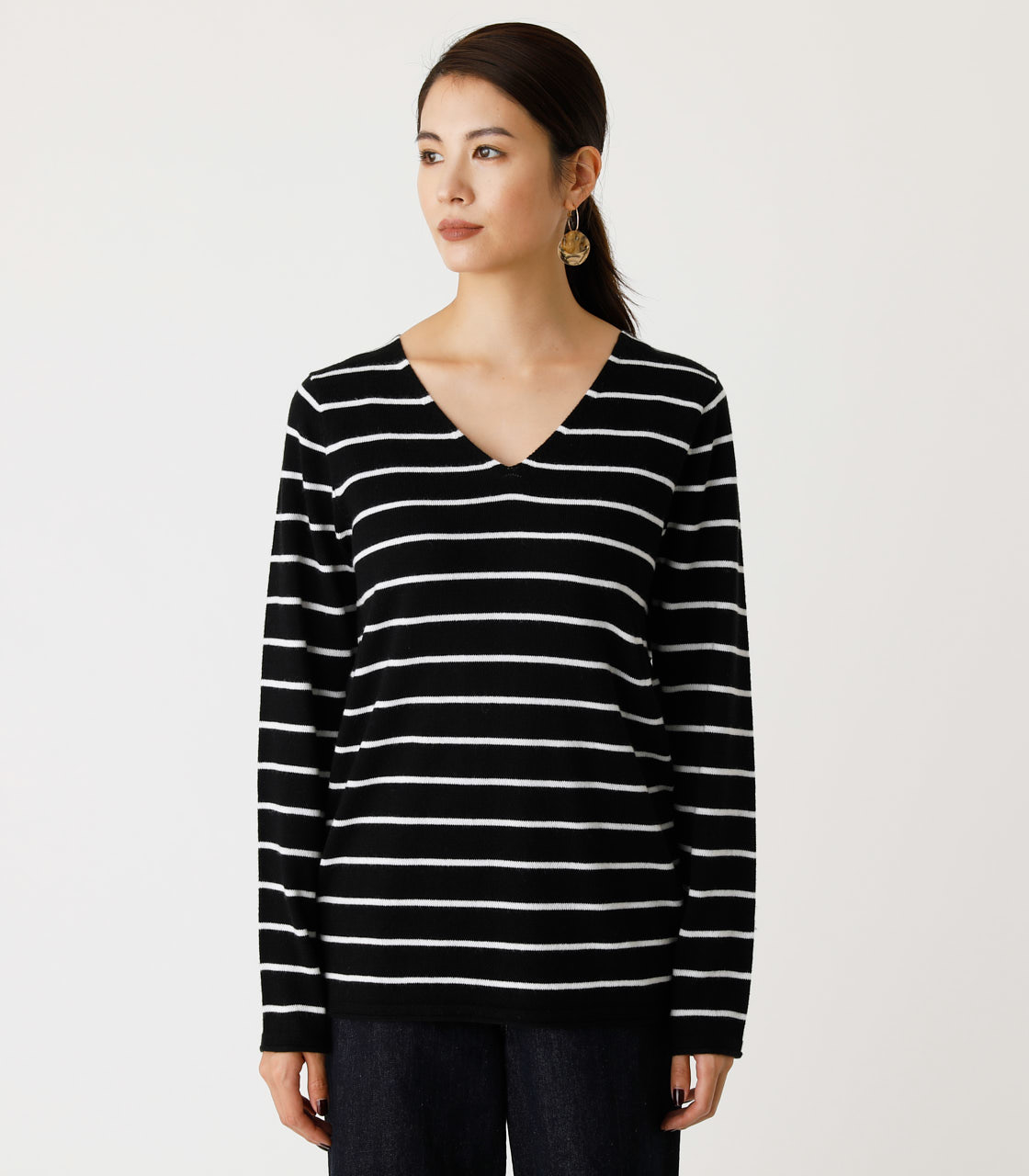NUDIE V/N KNIT TOPS Ⅱ/ヌーディーVネックニットトップスⅡ 詳細画像 柄BLK 4
