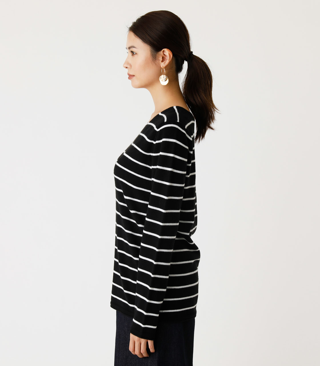 NUDIE V/N KNIT TOPS Ⅱ/ヌーディーVネックニットトップスⅡ 詳細画像 柄BLK 5