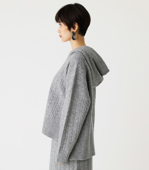 CABLE KNIT HOODIE/ケーブルニットフーディ 詳細画像