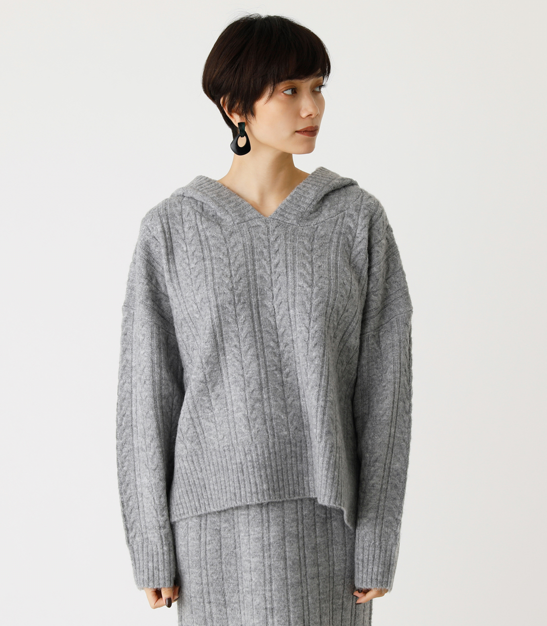 CABLE KNIT HOODIE/ケーブルニットフーディ 詳細画像 T.GRY 4