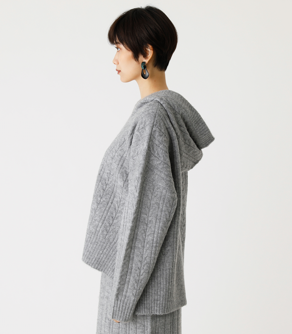 CABLE KNIT HOODIE/ケーブルニットフーディ 詳細画像 T.GRY 5