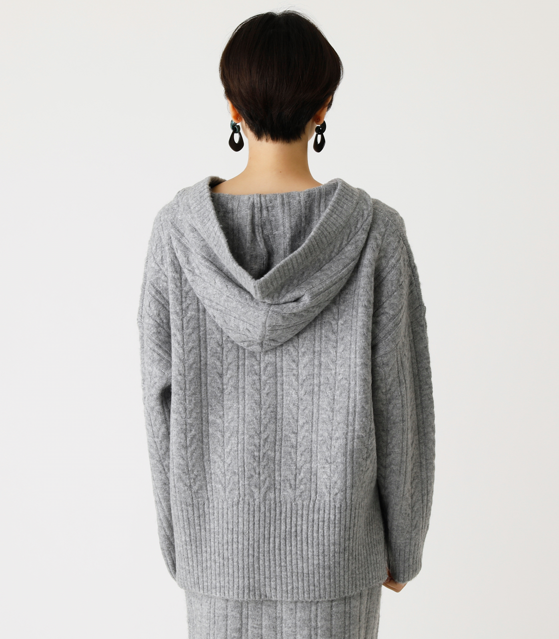 CABLE KNIT HOODIE/ケーブルニットフーディ 詳細画像 T.GRY 6