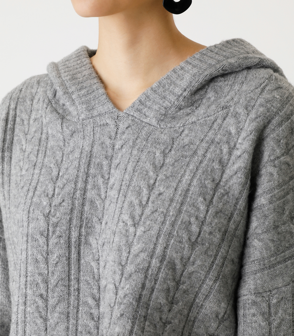 CABLE KNIT HOODIE/ケーブルニットフーディ 詳細画像 T.GRY 7