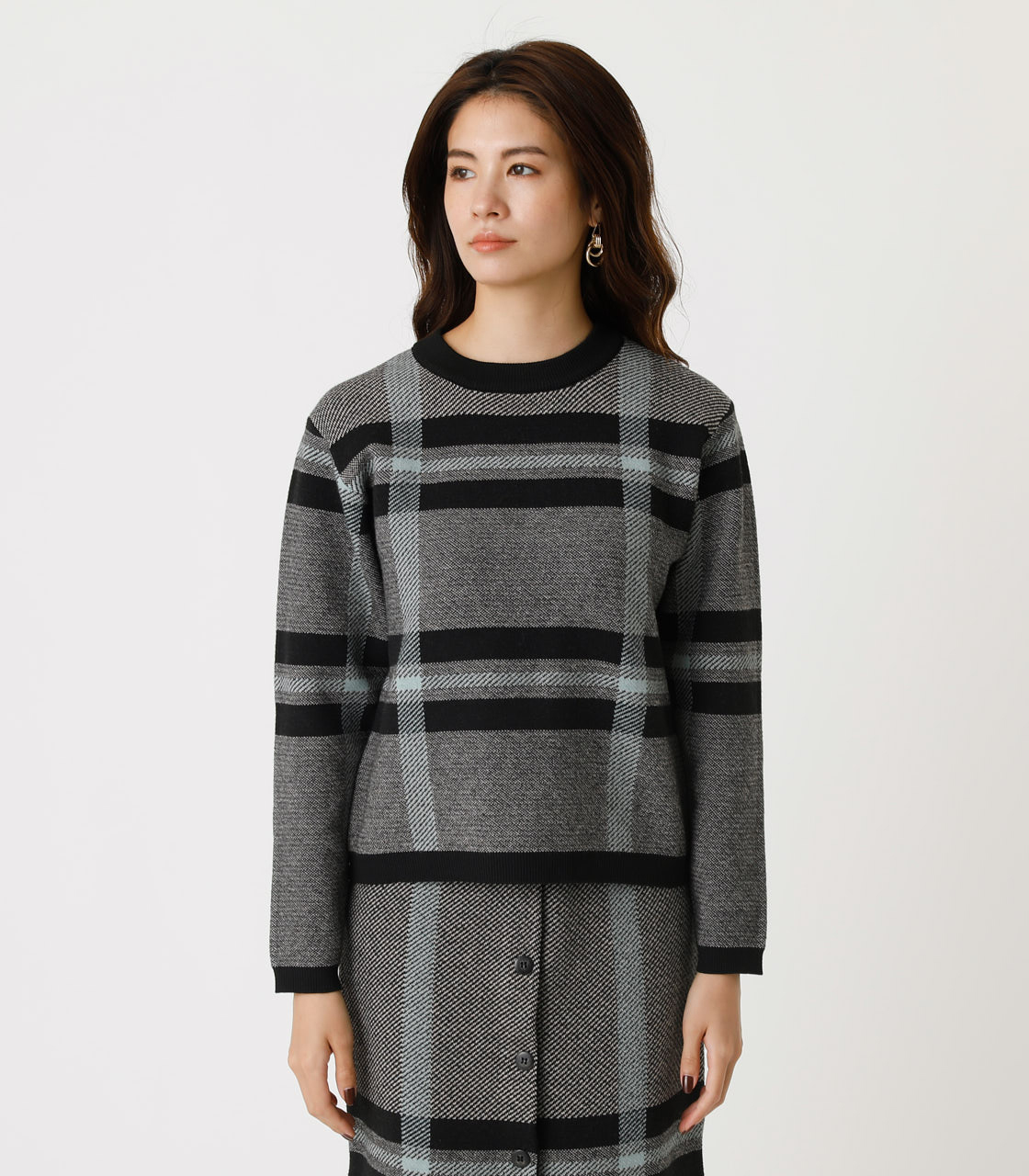 BIG CHECK KNIT TOPS/ビッグチェックニットトップス 詳細画像 柄BLK 5