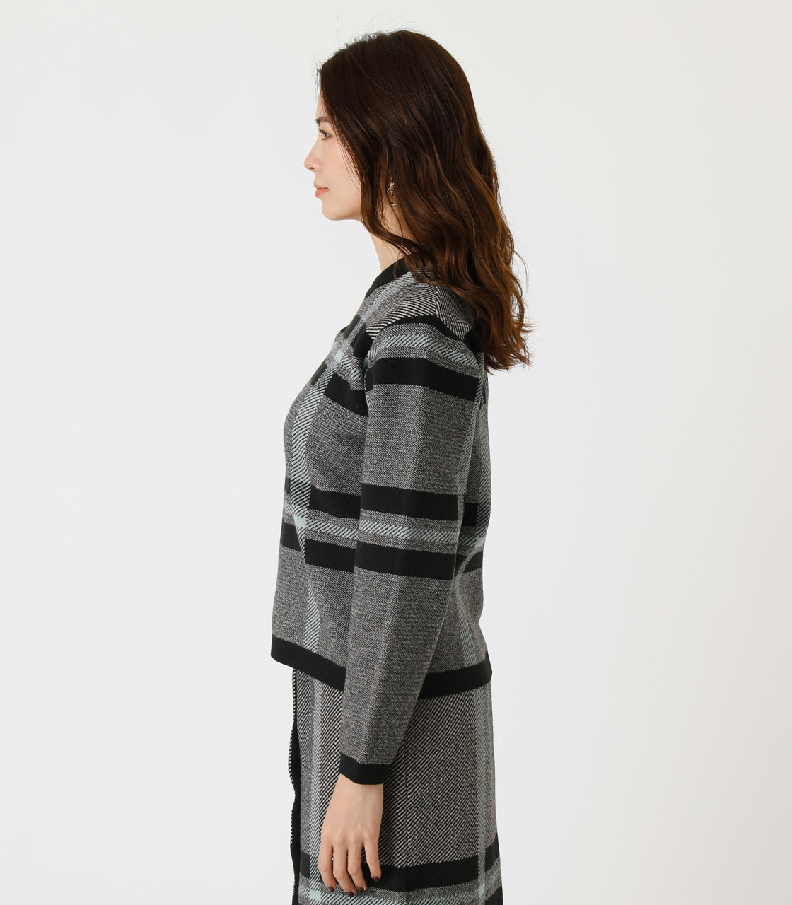 BIG CHECK KNIT TOPS/ビッグチェックニットトップス 詳細画像 柄BLK 6