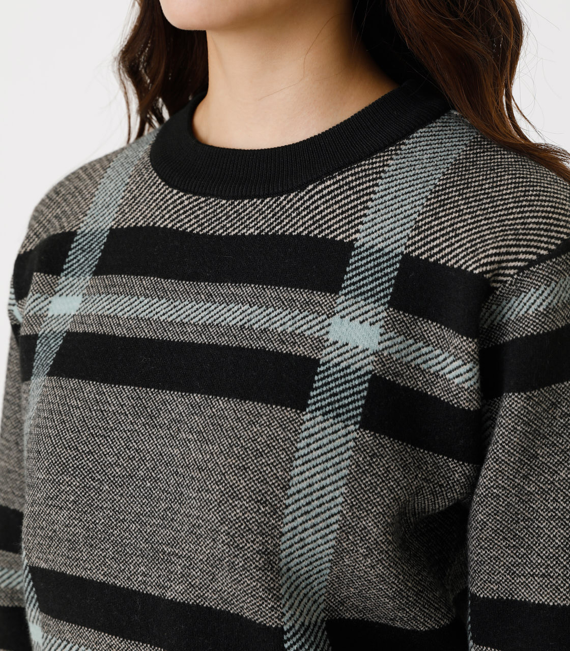 BIG CHECK KNIT TOPS/ビッグチェックニットトップス 詳細画像 柄BLK 8