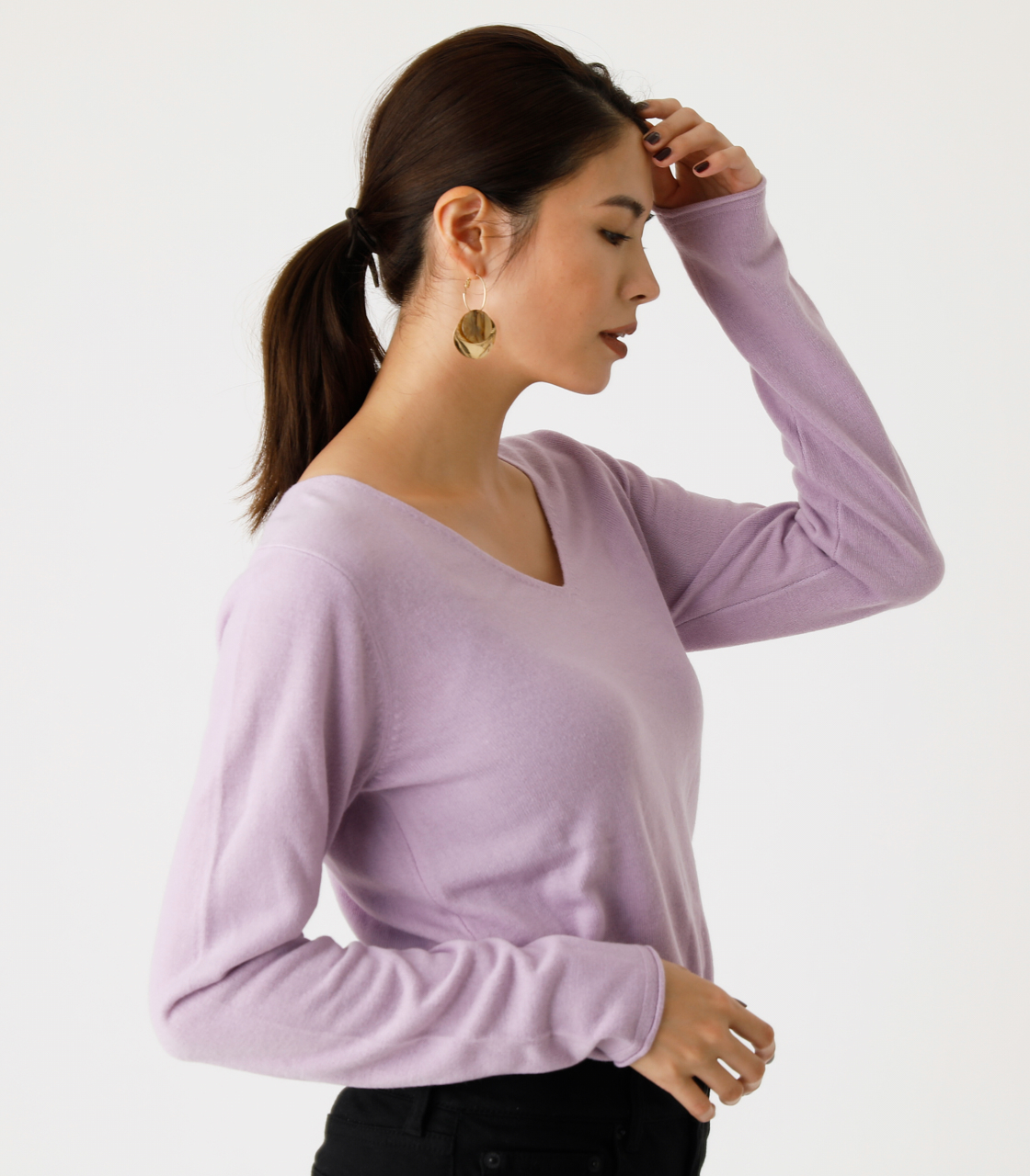 NUDIE V/N KNIT TOPS Ⅲ/ヌーディーVネックニットトップスⅢ 詳細画像 L/PUR 2