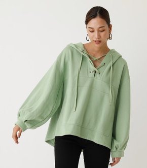 LACE-UP LOOSE HOODIE/レースアップルーズフーディ