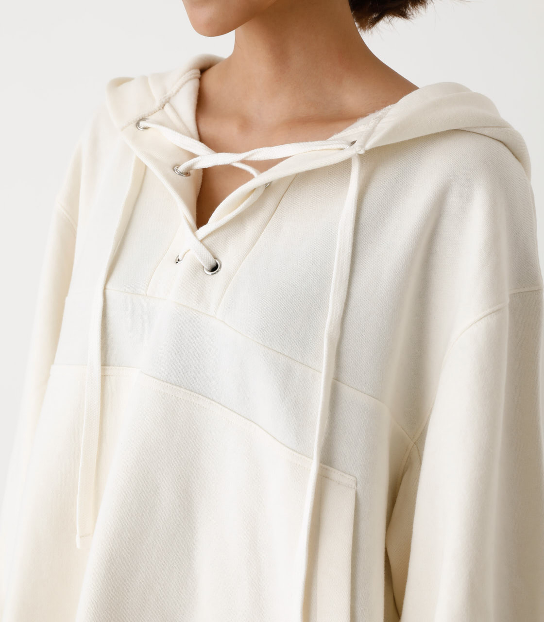 LACE-UP LOOSE HOODIE/レースアップルーズフーディ 詳細画像 IVOY 7