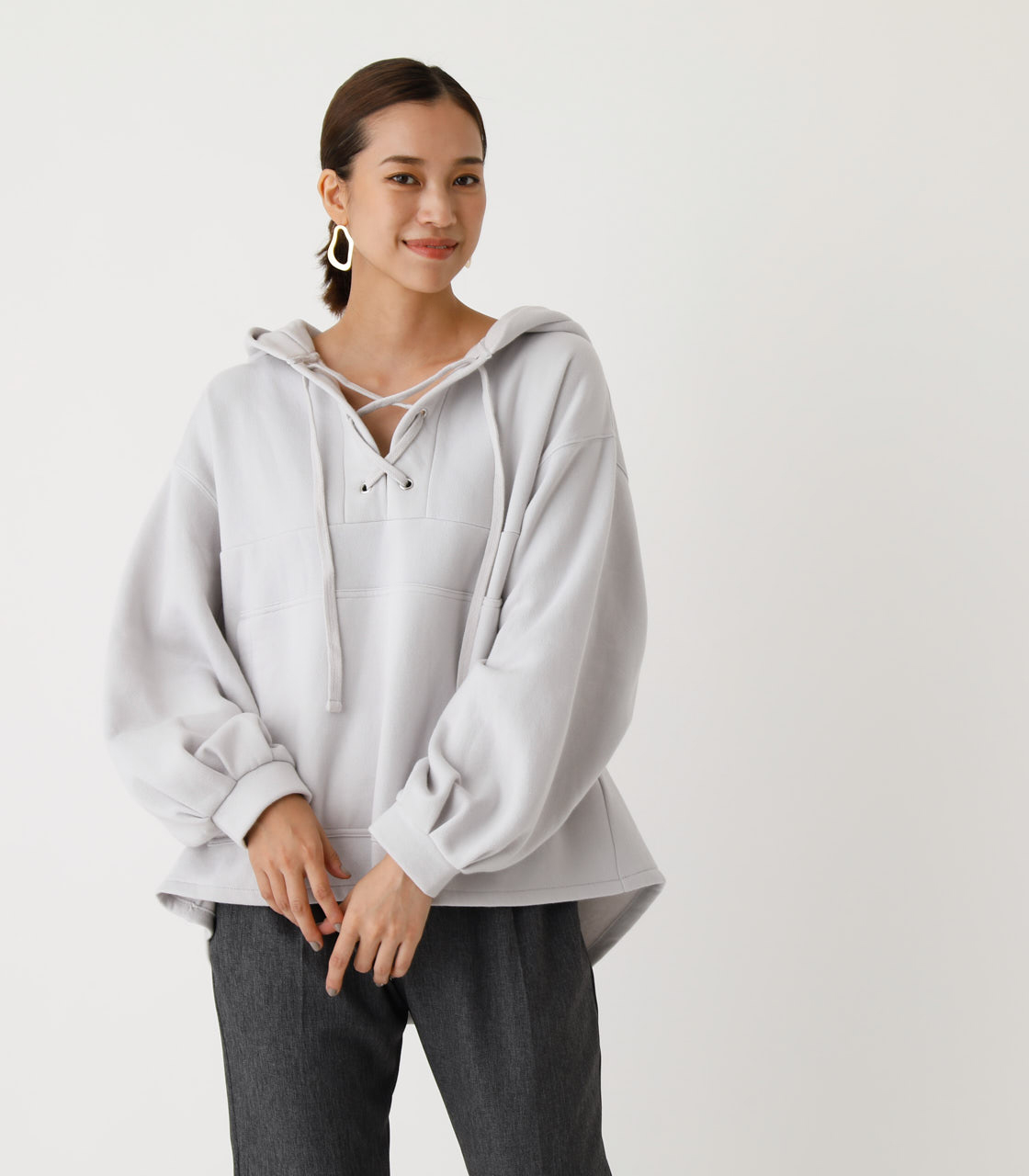 LACE-UP LOOSE HOODIE/レースアップルーズフーディ 詳細画像 L/GRY 1