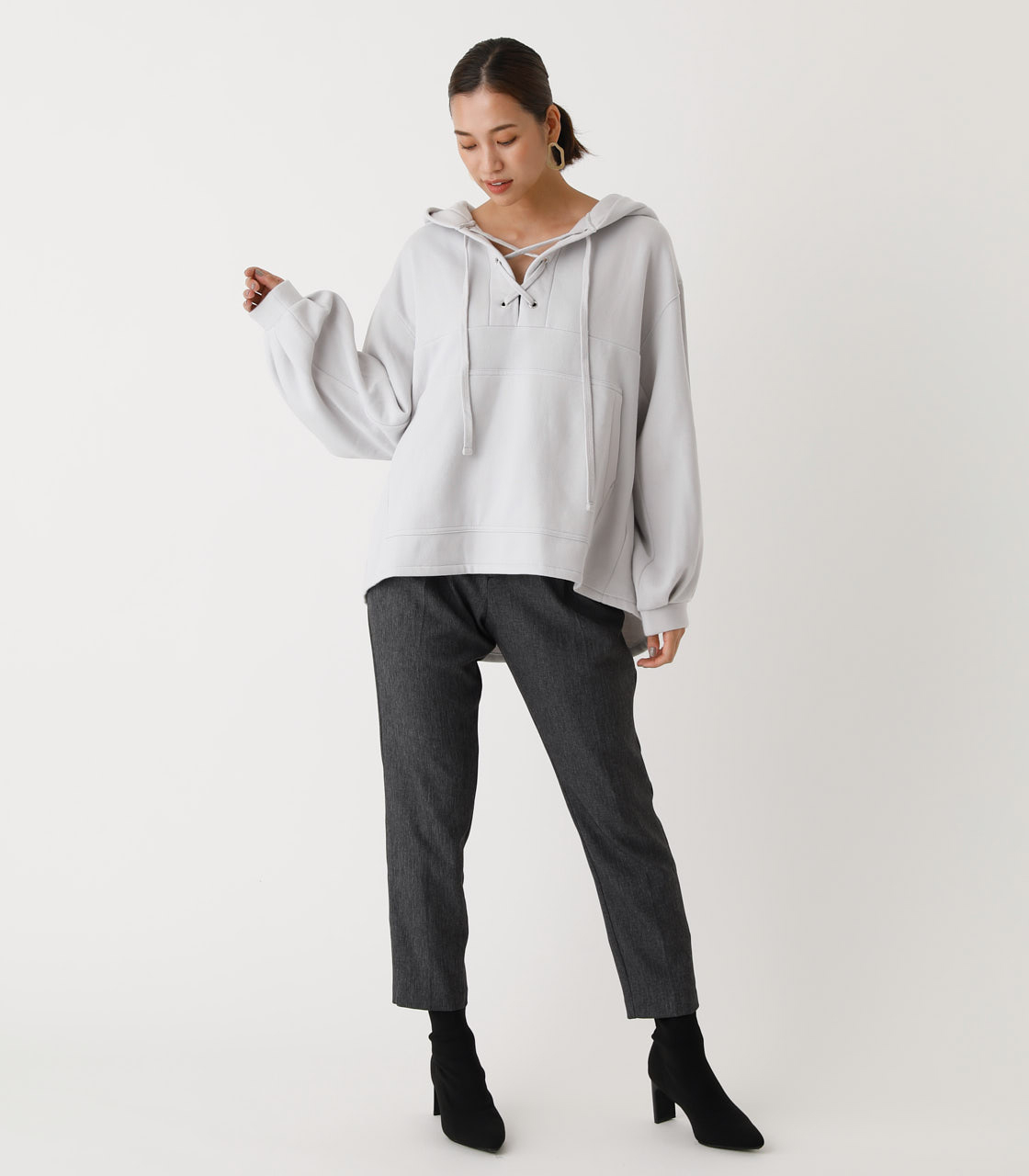 LACE-UP LOOSE HOODIE/レースアップルーズフーディ 詳細画像 L/GRY 3