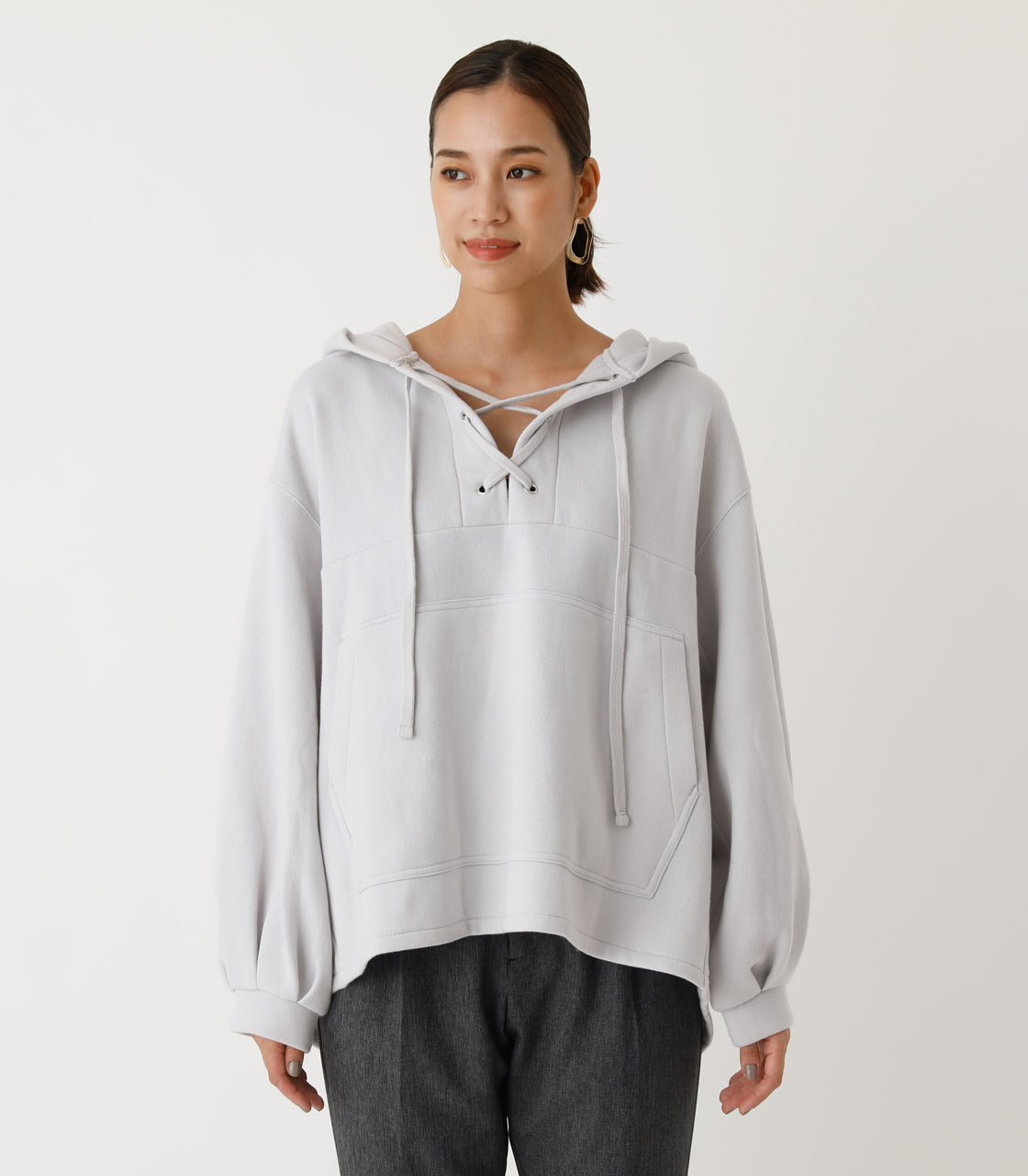 LACE-UP LOOSE HOODIE/レースアップルーズフーディ 詳細画像 L/GRY 4