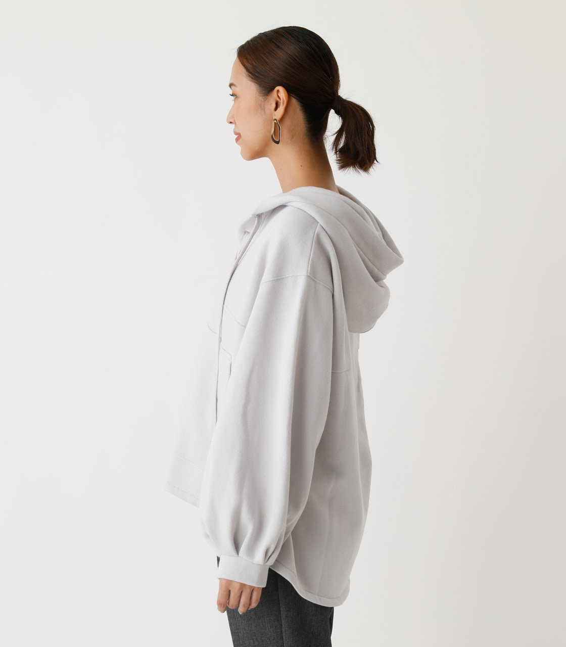 LACE-UP LOOSE HOODIE/レースアップルーズフーディ 詳細画像 L/GRY 5