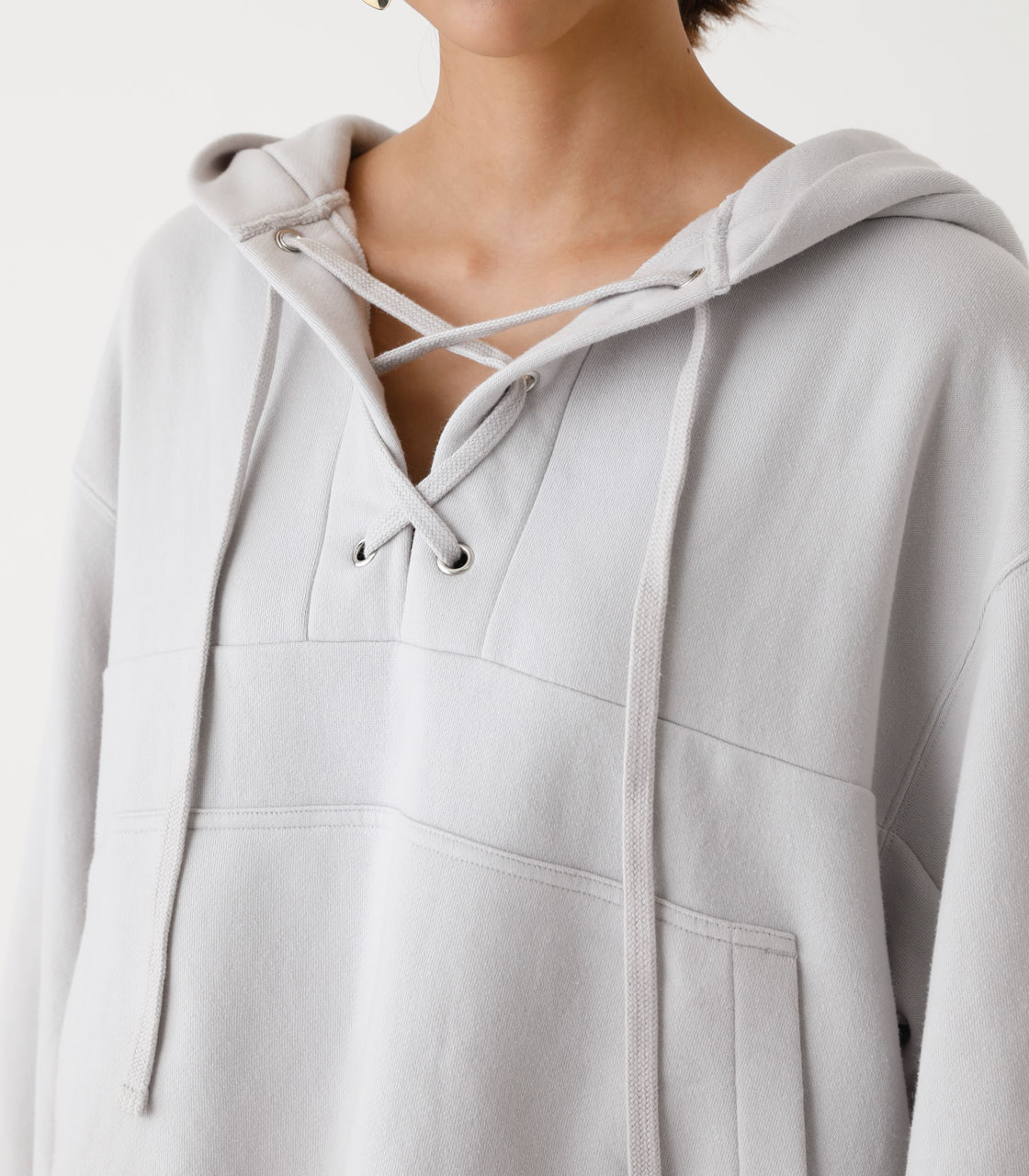 LACE-UP LOOSE HOODIE/レースアップルーズフーディ 詳細画像 L/GRY 7