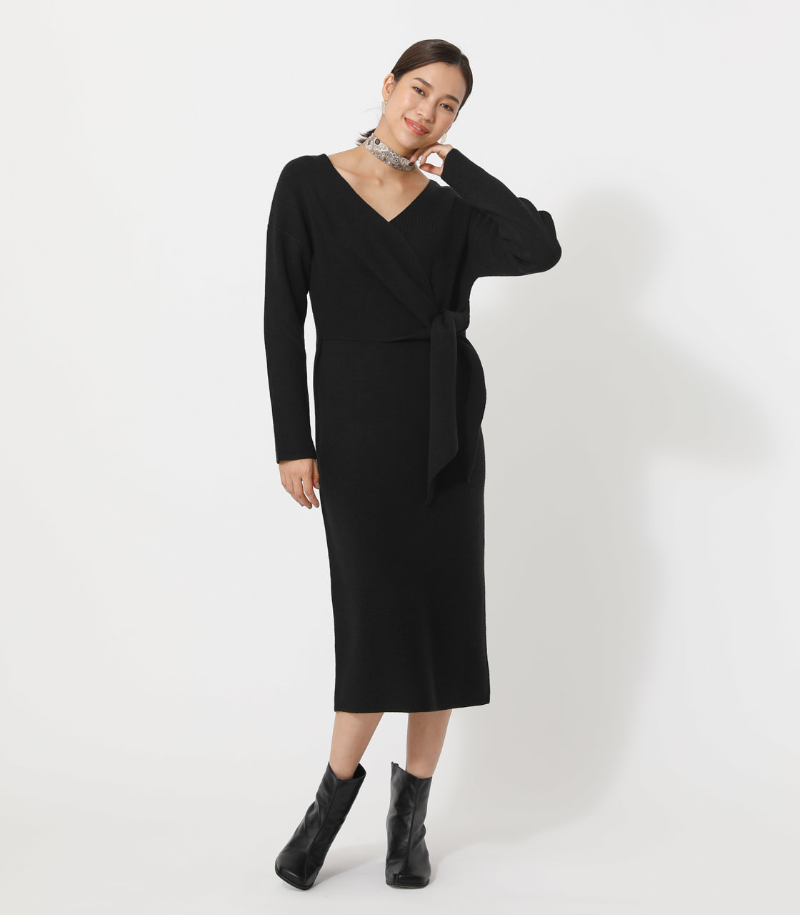 FRONT LINK KNIT ONEPIECE/フロントリンクニットワンピース 詳細画像 BLK 1