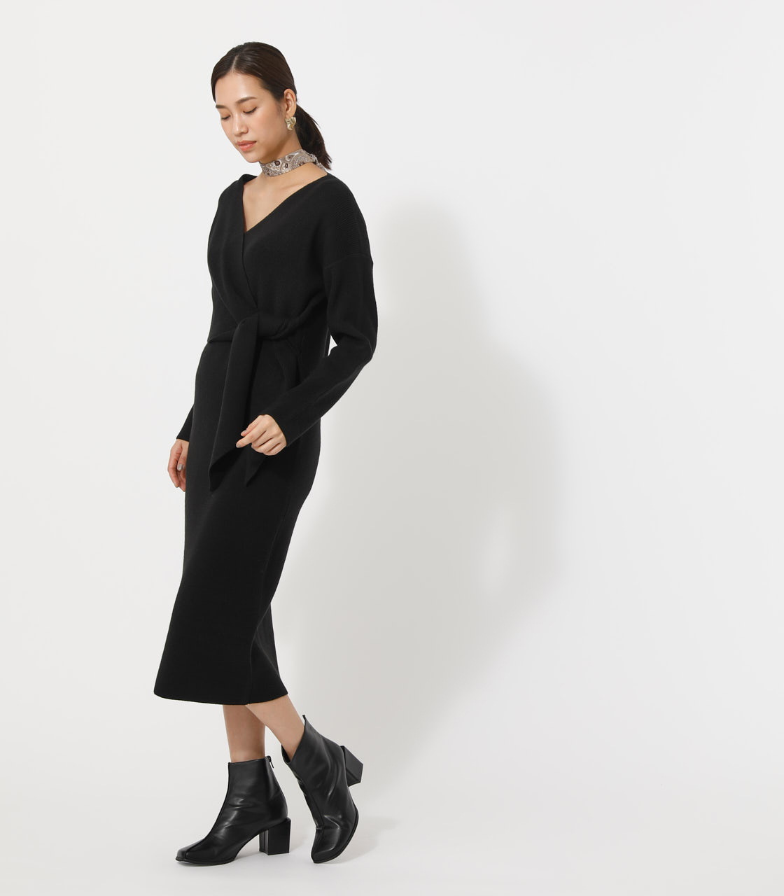 FRONT LINK KNIT ONEPIECE/フロントリンクニットワンピース 詳細画像 BLK 2