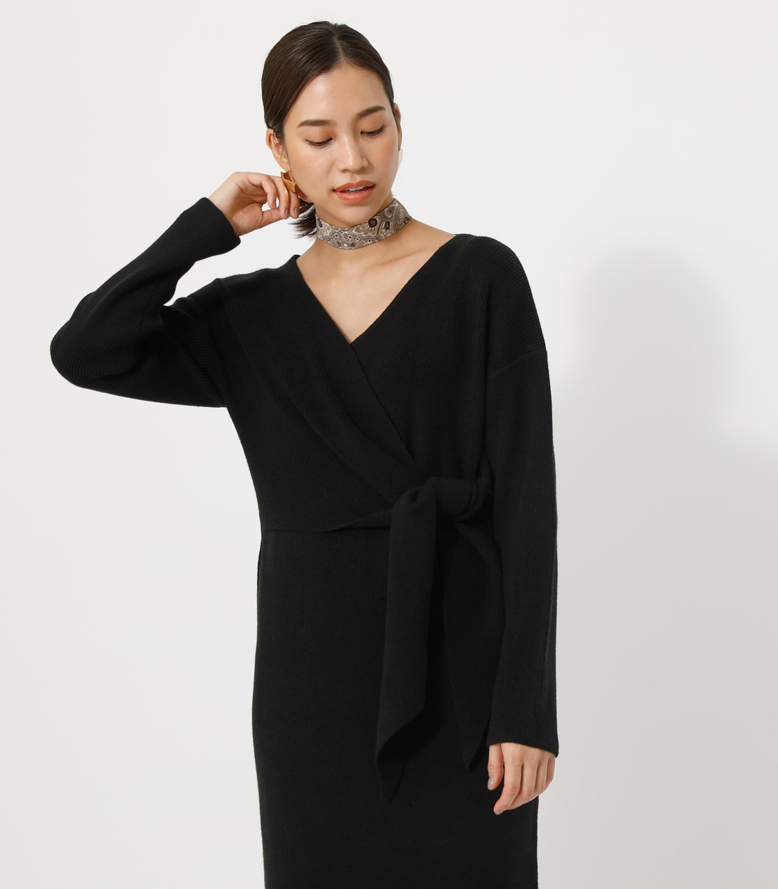 FRONT LINK KNIT ONEPIECE/フロントリンクニットワンピース 詳細画像 BLK 3