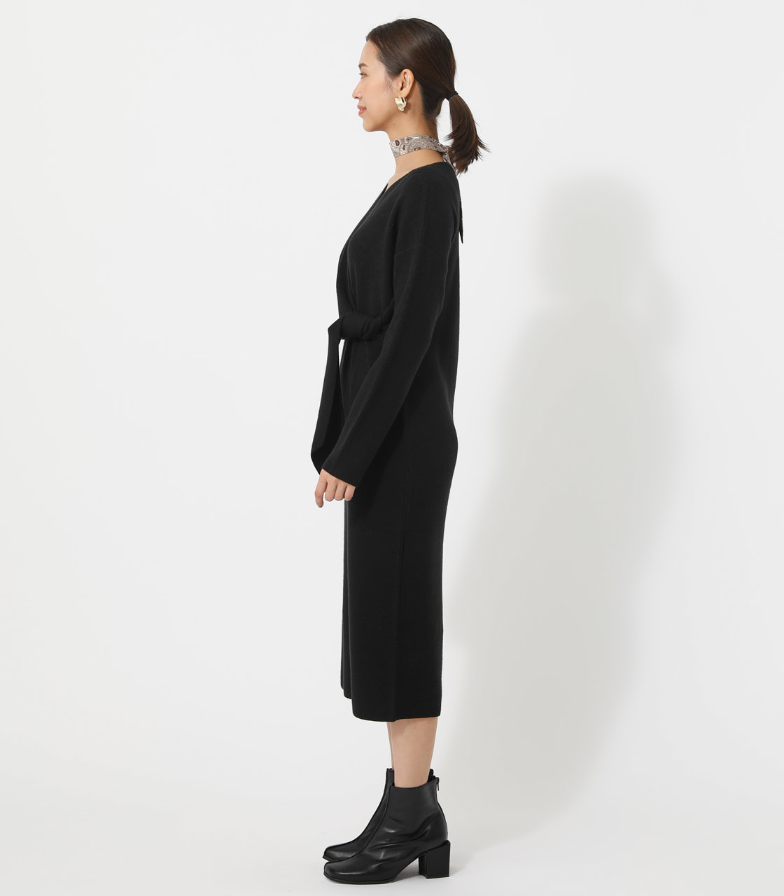 FRONT LINK KNIT ONEPIECE/フロントリンクニットワンピース 詳細画像 BLK 5