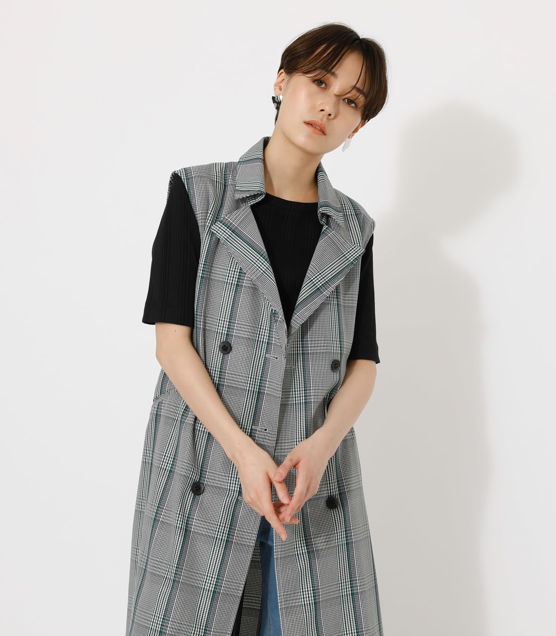 LOOSE TRENCH VEST/ルーズトレンチベスト 詳細画像 柄GRY 3