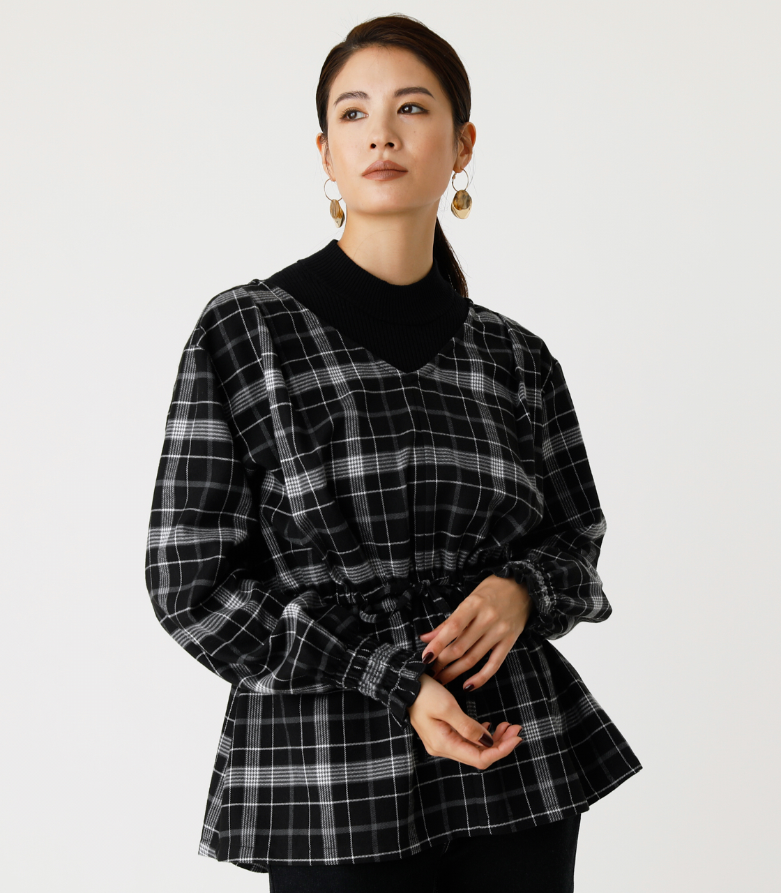 PEPLUM CHECK BLOUSE/ペプラムチェックブラウス 詳細画像 柄BLK 1