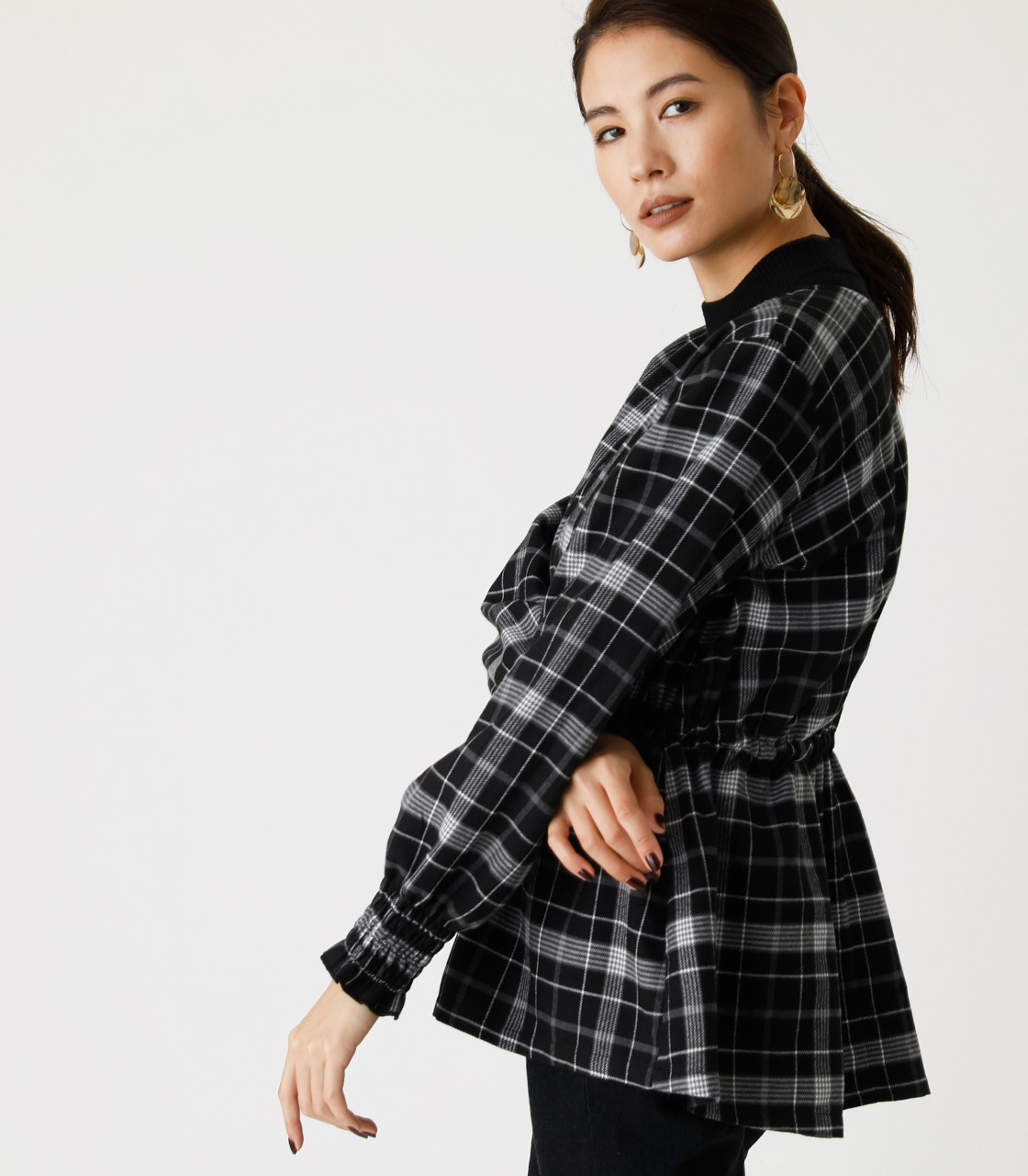 PEPLUM CHECK BLOUSE/ペプラムチェックブラウス 詳細画像 柄BLK 2