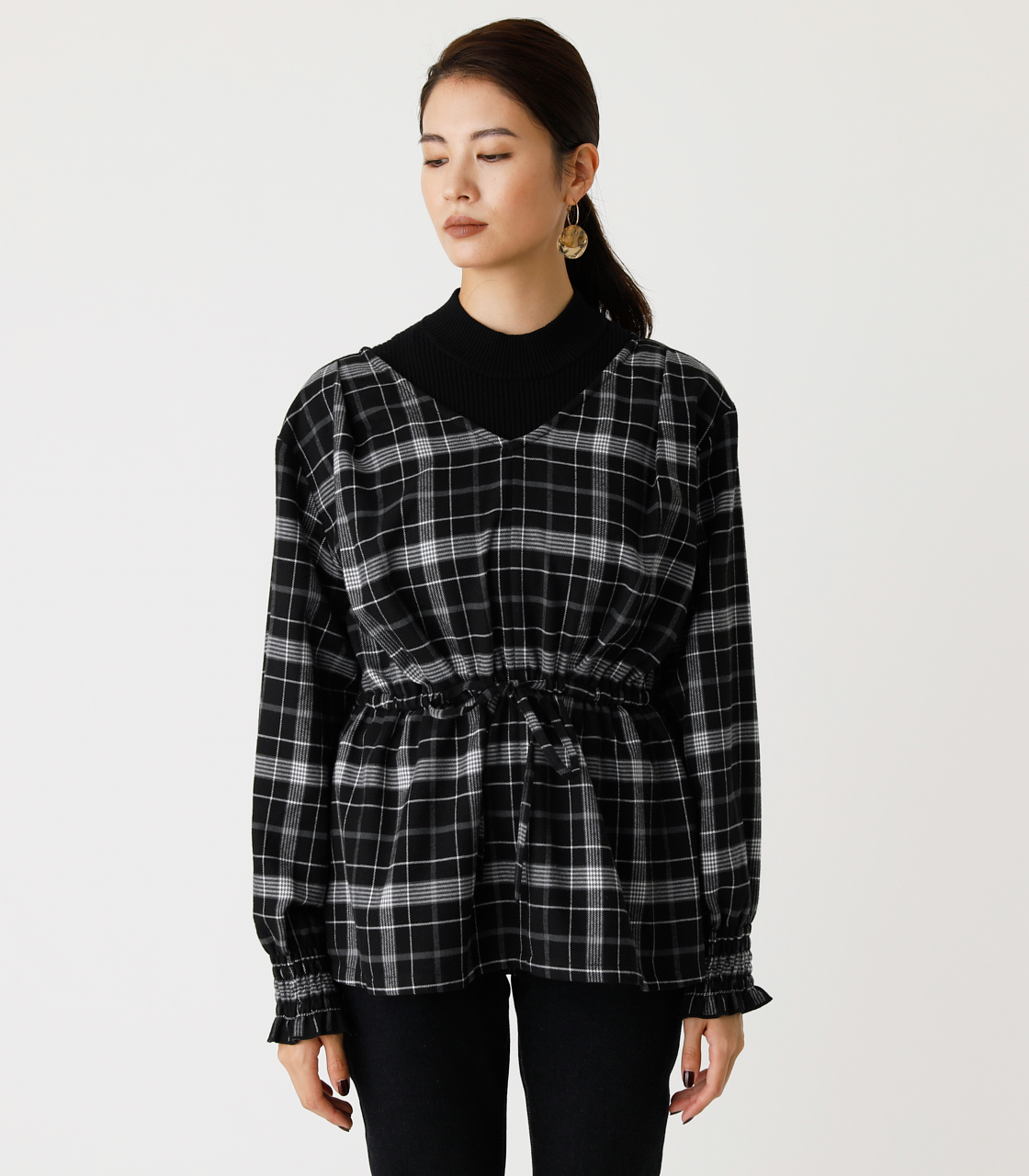 PEPLUM CHECK BLOUSE/ペプラムチェックブラウス 詳細画像 柄BLK 4
