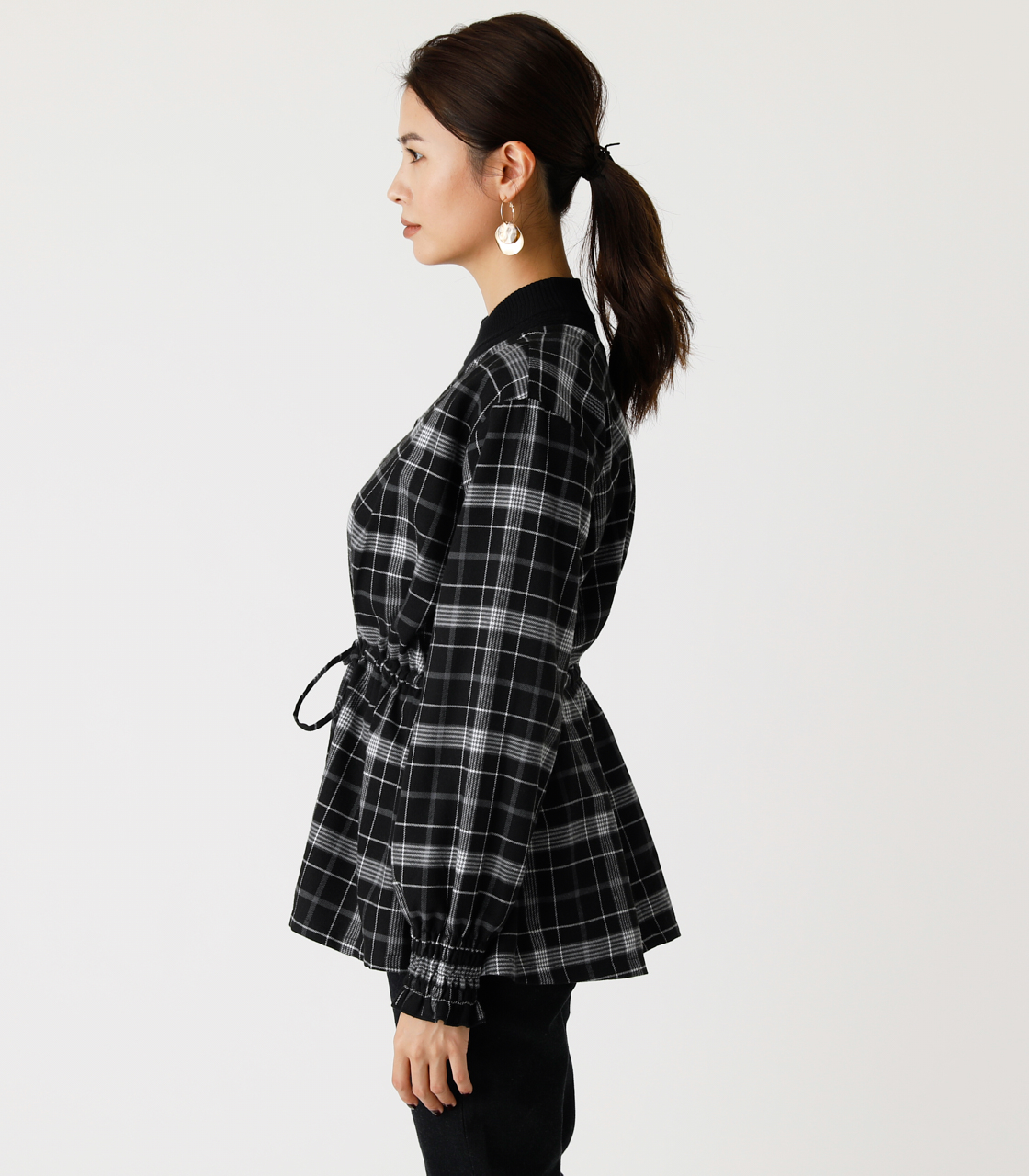 PEPLUM CHECK BLOUSE/ペプラムチェックブラウス 詳細画像 柄BLK 5