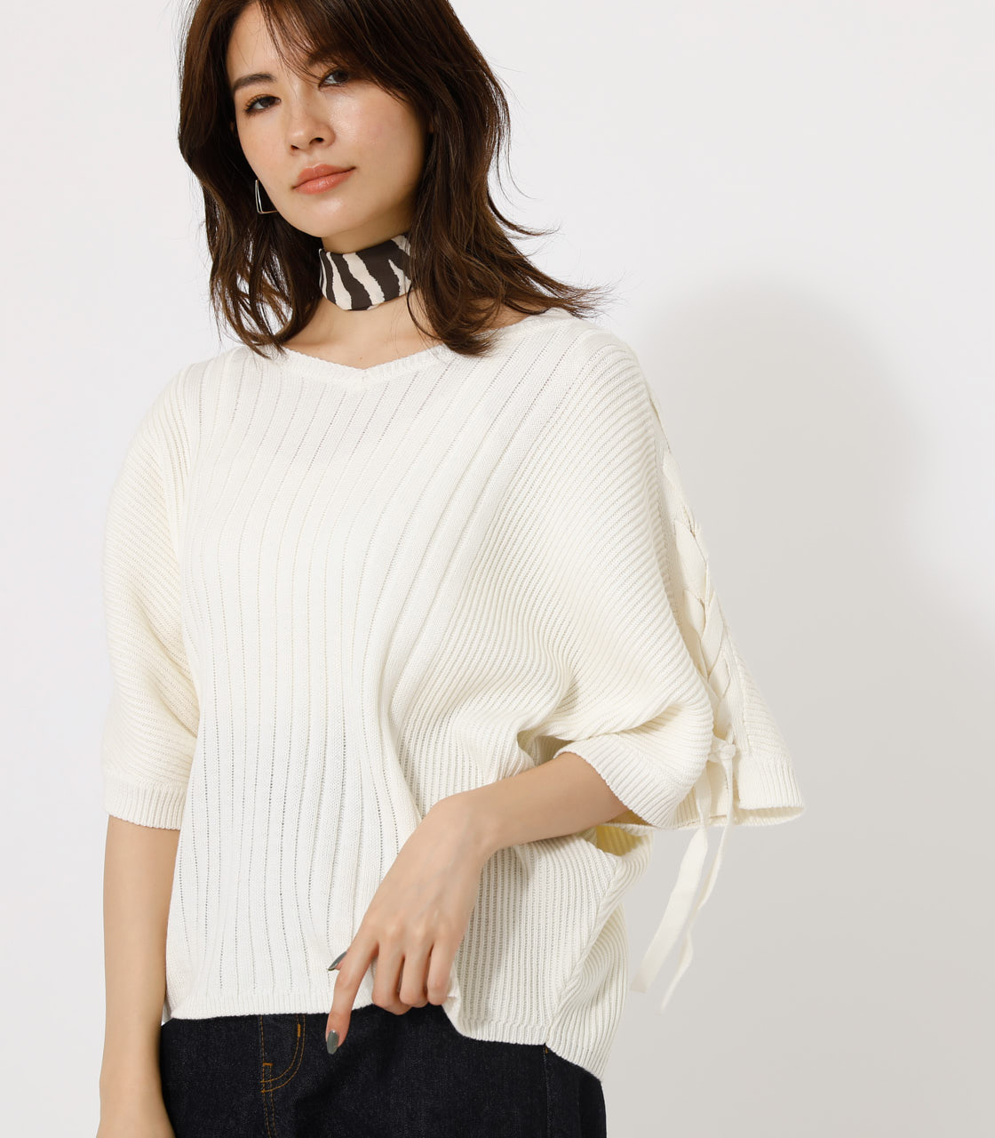 2WAY SHOULDER LACE-UP KNIT/2WAYショルダーレースアップニット 詳細画像 O/WHT 1