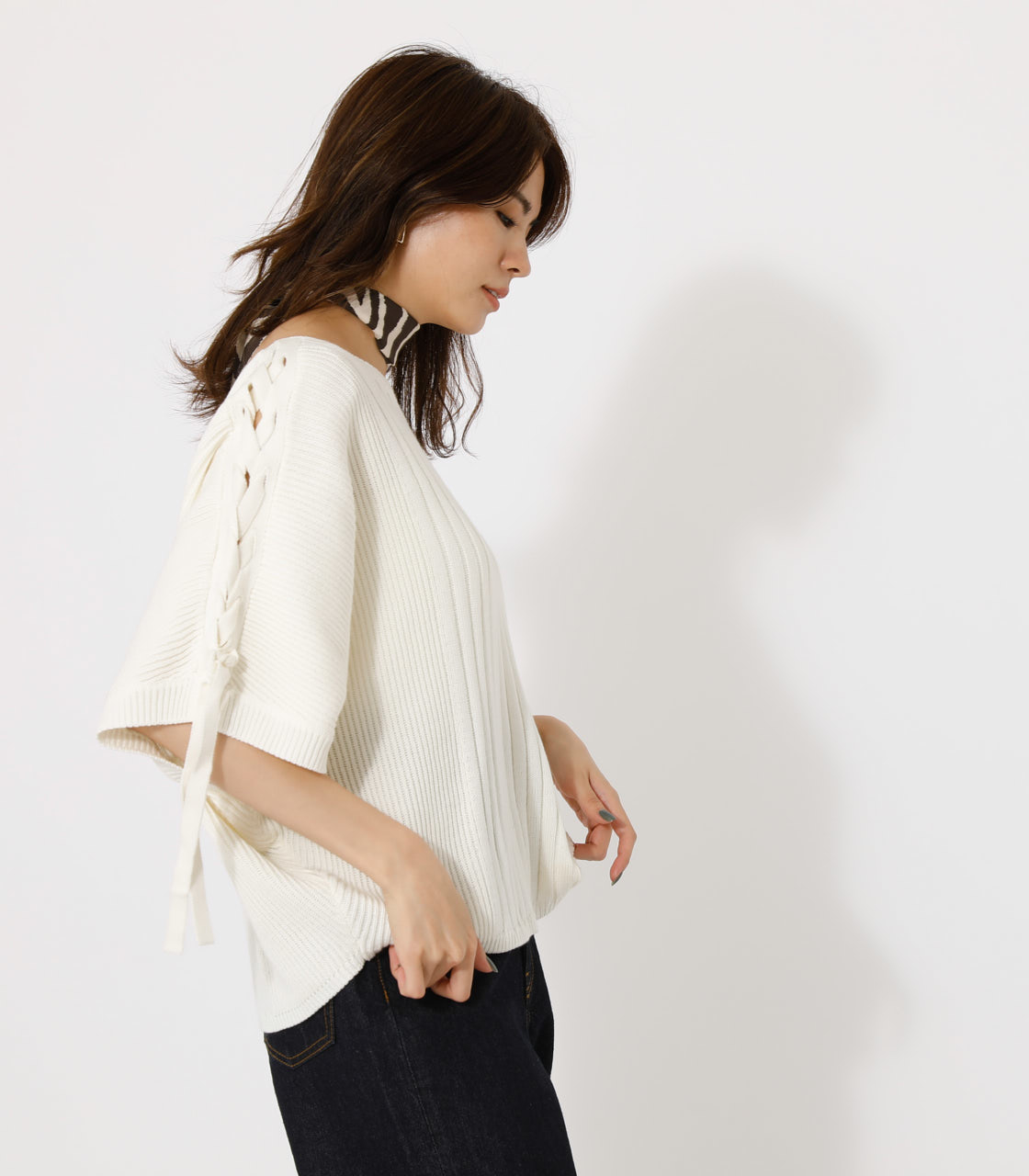 2WAY SHOULDER LACE-UP KNIT/2WAYショルダーレースアップニット 詳細画像 O/WHT 2