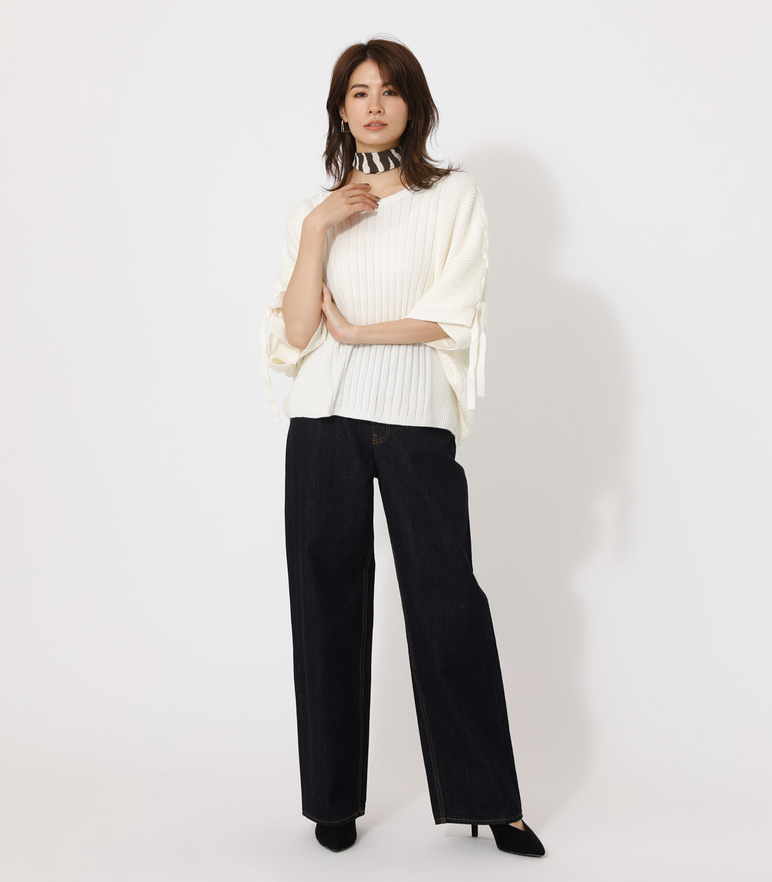 2WAY SHOULDER LACE-UP KNIT/2WAYショルダーレースアップニット 詳細画像 O/WHT 3