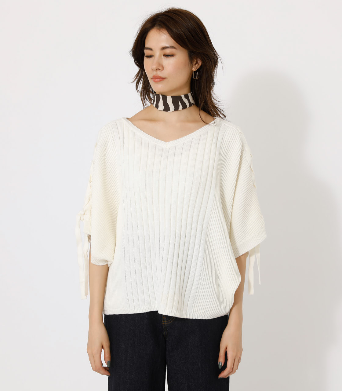 2WAY SHOULDER LACE-UP KNIT/2WAYショルダーレースアップニット 詳細画像 O/WHT 4