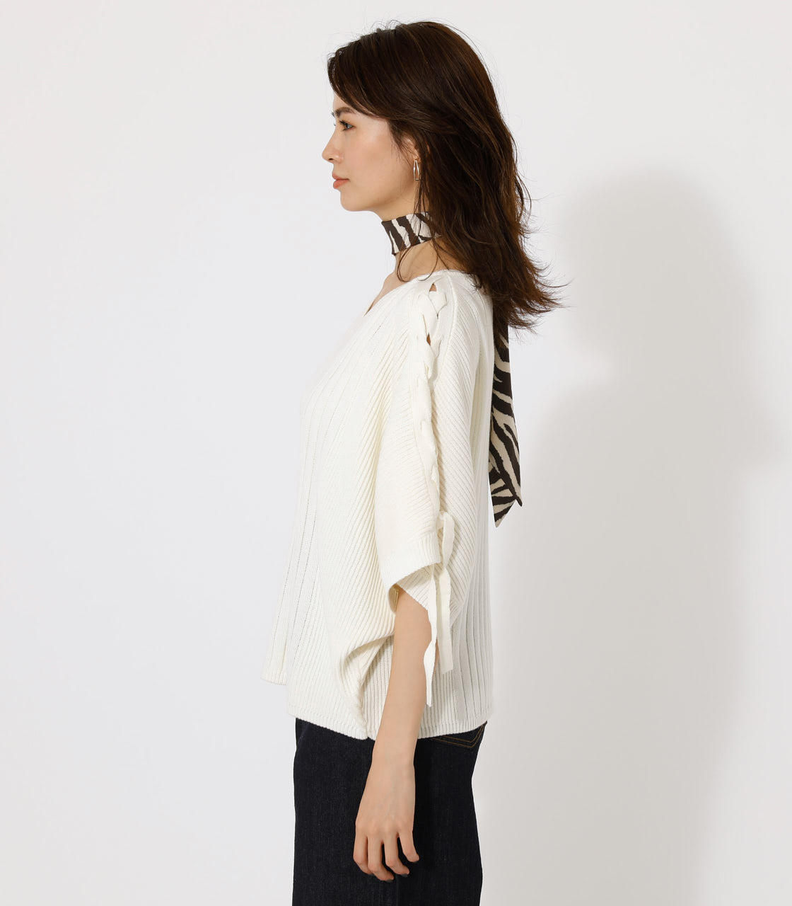 2WAY SHOULDER LACE-UP KNIT/2WAYショルダーレースアップニット 詳細画像 O/WHT 5
