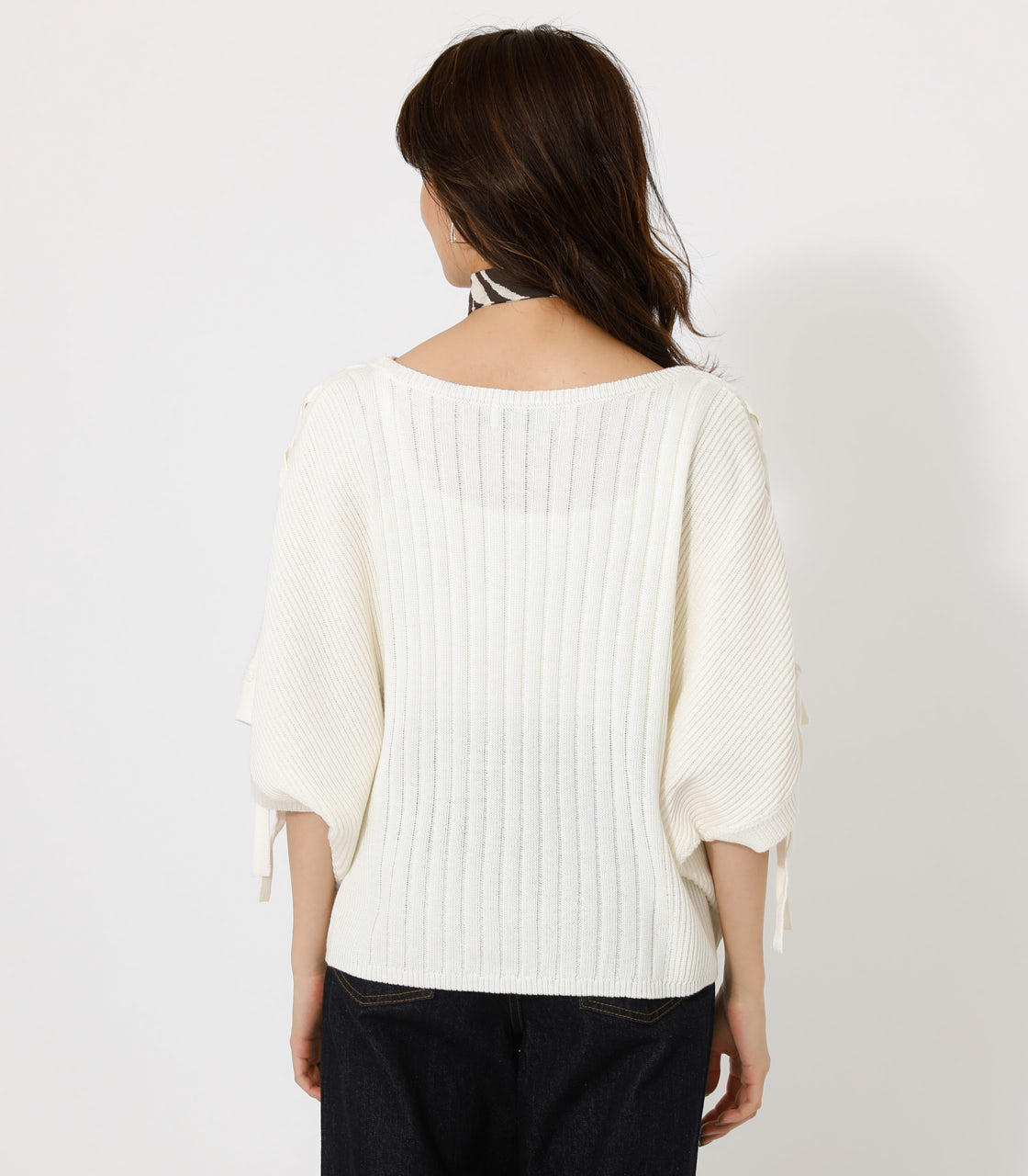 2WAY SHOULDER LACE-UP KNIT/2WAYショルダーレースアップニット 詳細画像 O/WHT 6